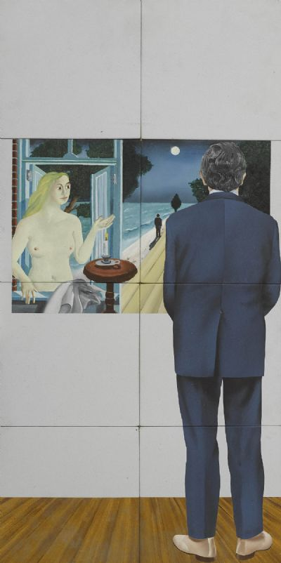 Man and Delvaux by Robert Ballagh  at de Veres Auctions
