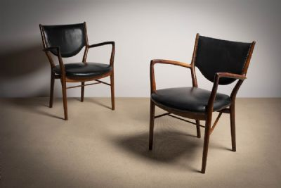 A PAIR OF ROSEWOOD 'FINN JUHL 46' ARMCHAIRS at de Veres Auctions