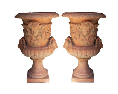 A LARGE PAIR OF CAMPANA SHAPED TERRACOTTA URNS at deVeres Auctions