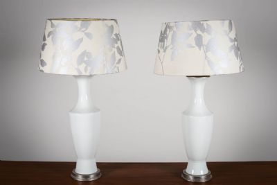 A PAIR OF OPAQUE CERAMIC BALUSTER SHAPED LAMPS at deVeres Auctions