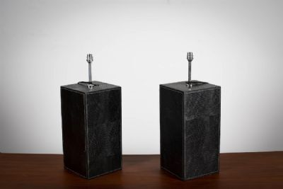 A PAIR OF SQUARE BROWN LEATHER LAMPS at deVeres Auctions
