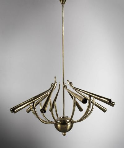 A GILT METAL 10 BRANCH HANGING LIGHT at deVeres Auctions