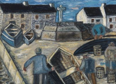 FISHERMEN AT WORK ON TORY ISLAND by Orla Egan  at deVeres Auctions
