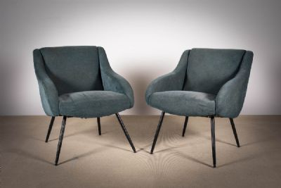 A PAIR OF UPHOLSTERED EASY CHAIRS at deVeres Auctions