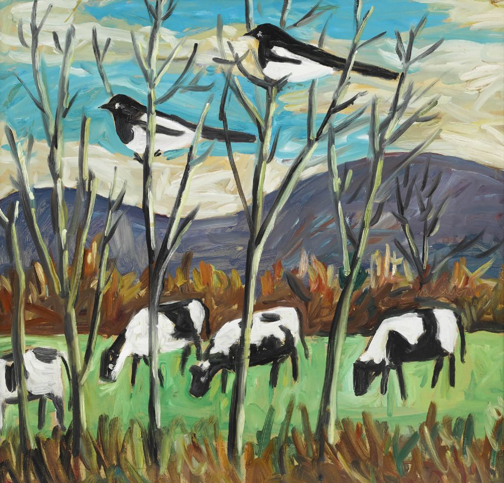 Lot 311 - LANDSCAPE WITH MAGPIES by Tadhg McSweeney