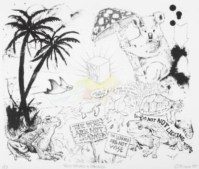 TAOIST FROADS IN PARADISE by James Kirwin  at deVeres Auctions
