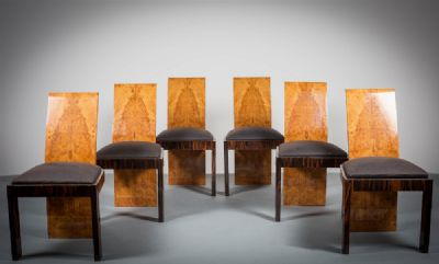 AN IMPORTANT SET OF SIX ART DECO DINING CHAIRS at de Veres Auctions