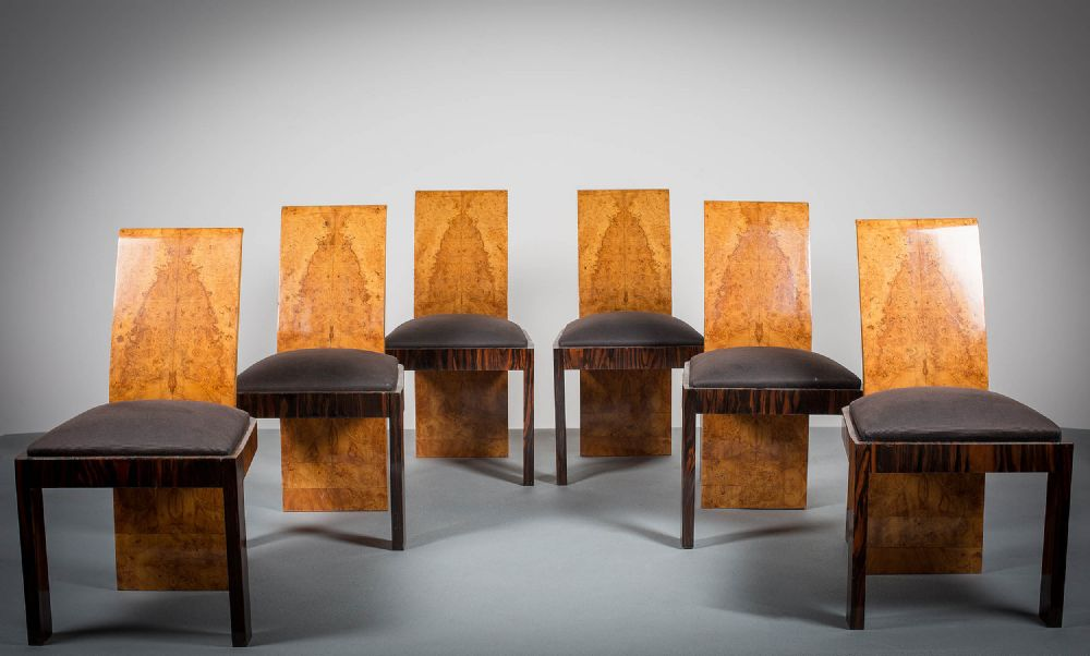AN IMPORTANT SET OF SIX ART DECO DINING CHAIRS
