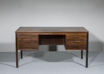 A ROSEWOOD KNEEHOLE DESK, DANISH 1960s at deVeres Auctions