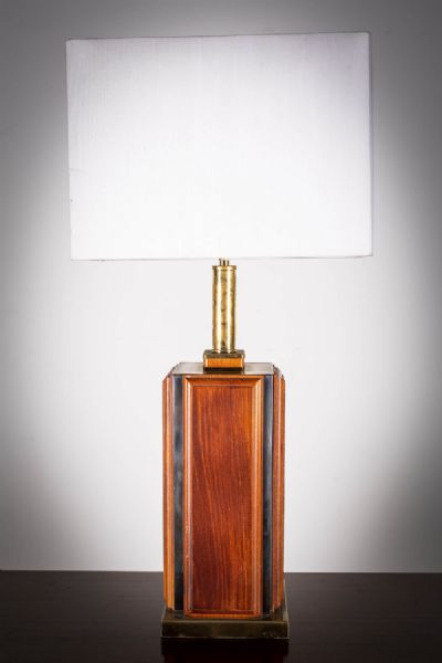 A TEAK AND BRASS SQUARE TABLE LAMP at deVeres Auctions