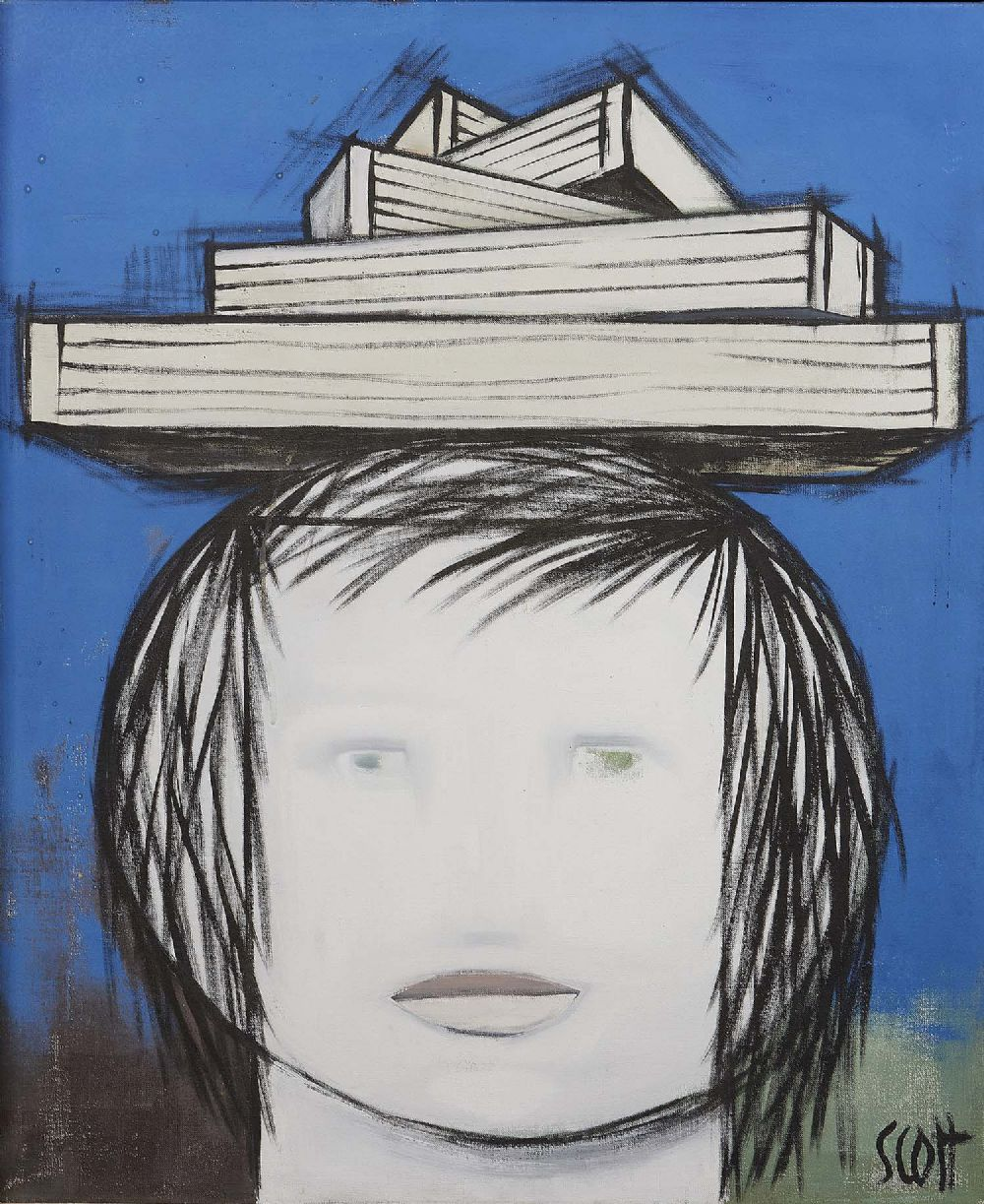 GIRL CARRYING EMPTY BOXES, 1958 by Patrick Scott HRHA 1921