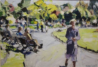ST STEPHENS GREEN, SUNLIGHT by Stephen Cullen  at de Veres Auctions