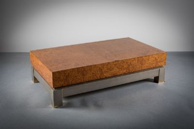 BURR MAPLE COFFEE TABLE at deVeres Auctions