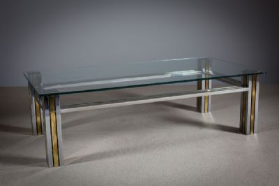 A CHROME AND GILT COFFEE TABLE at de Veres Auctions