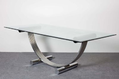 A CHROME DINING TABLE by RENATO ZEVI  at de Veres Auctions