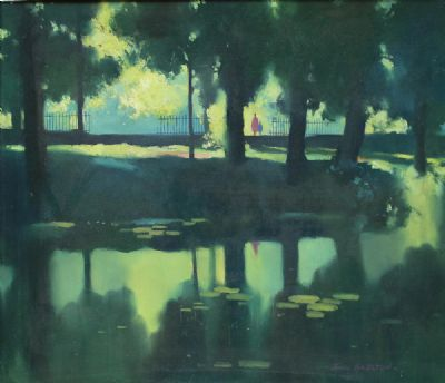 SUMMER REFLECTIONS, THE CANAL, MOUNT STREET, DUBLIN by John Skelton  at de Veres Auctions