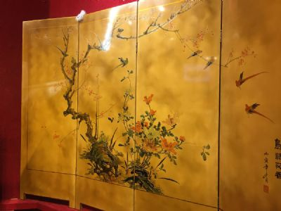 A LACQUERED FOUR FOLD SCREEN at de Veres Auctions