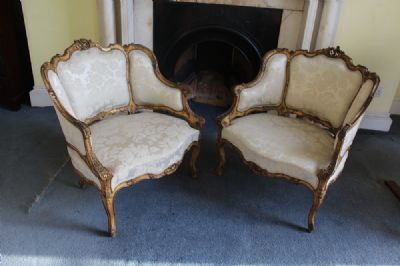 GILTWOOD OPEN ARMCHAIRS at de Veres Auctions