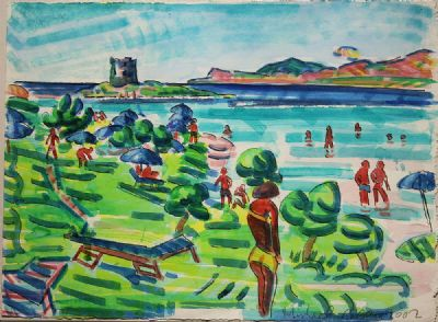 BATHERS, LA PELOSA, SARDINIA by Michael Cullen b.1  at de Veres Auctions