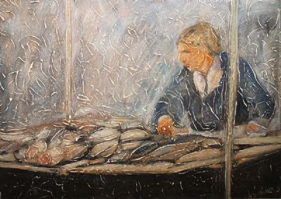 FISH SELLER by John Dunne  at de Veres Auctions