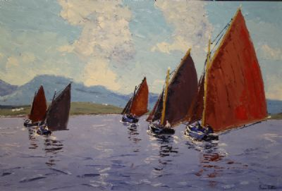 GALWAY HOOKERS, ROUNDSTONE BAY by Ivan Sutton  at deVeres Auctions