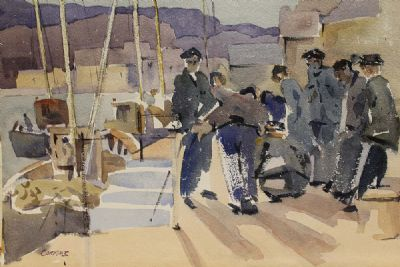 FISHERMEN ON THE PIER by Desmond Carrick  at deVeres Auctions
