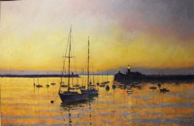 BOATS IN DUN LAOGHAIRE HARBOUR by Tom Roche  at deVeres Auctions