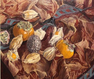 PHYSALIS PERSIMMONS AND PASSION FRUIT by Dale Pringle MacSweeney  at deVeres Auctions