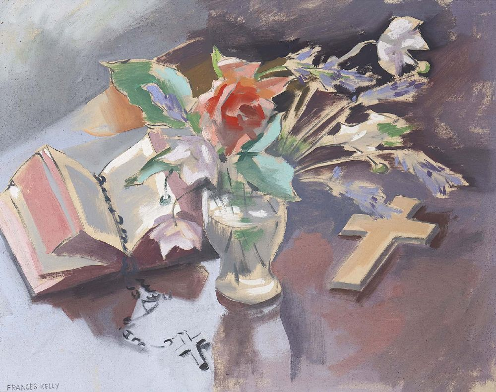 Lot 8 - STILL LIFE WITH CROSS by Frances Kelly