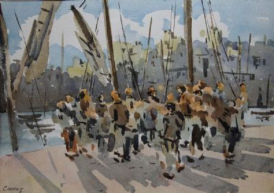 FIGURES ON THE PIER by Desmond Carrick  at deVeres Auctions