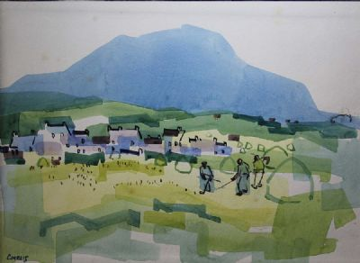 TENDING THE NETS, ACHILL ISLAND by Desmond Carrick  at deVeres Auctions