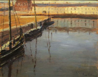 EVENING - HOOKERS MOORED AT GALWAY DOCKS by Ivan Sutton  at deVeres Auctions