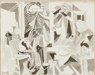 FIGURES IN A ROOM by Nevill Johnson  at deVeres Auctions
