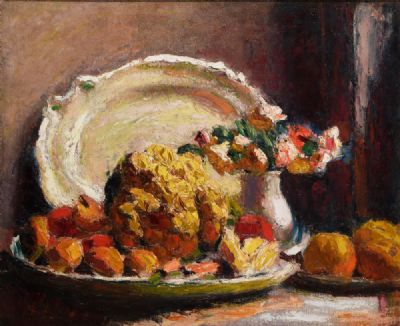 STILL LIFE WITH CAULIFLOWER, VASE OF FLOWERS AND A PLATTER, (c.1923-26) by Roderic O'Conor  at deVeres Auctions