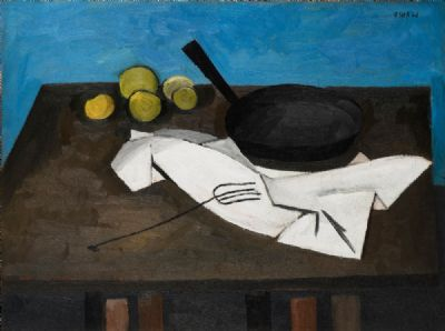 STILL LIFE WITH FRYING PAN (1946) by William Scott  at deVeres Auctions