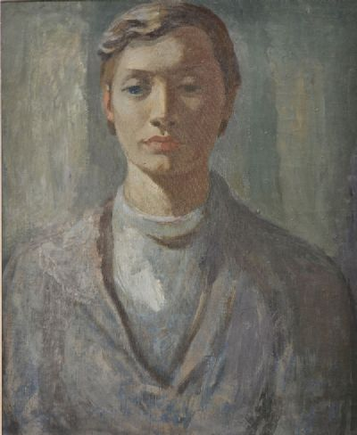 PORTRAIT OF A YOUNG WOMAN IN GREY by Cherith McKinstry  at deVeres Auctions
