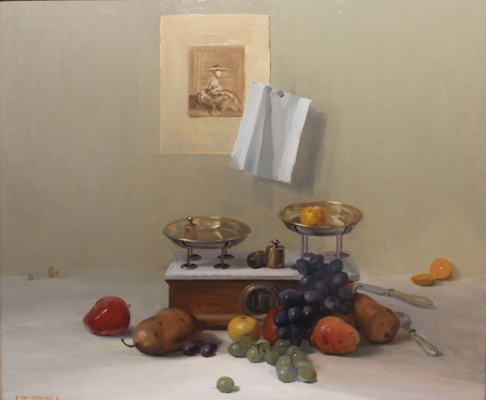 Lot 18 - STILL LIFE WITH FRUIT AND SCALES by Niccolo D'ardia Caracciolo RHA