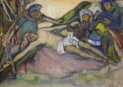 THE NAILING OF THE CROSS, STUDY by Kathleen Fox  at deVeres Auctions